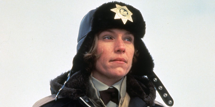 Frances McDormand bundled up in police uniform in a scene from the film 'Fargo', 1996. (Photo by Gramercy Pictures/Getty Images)