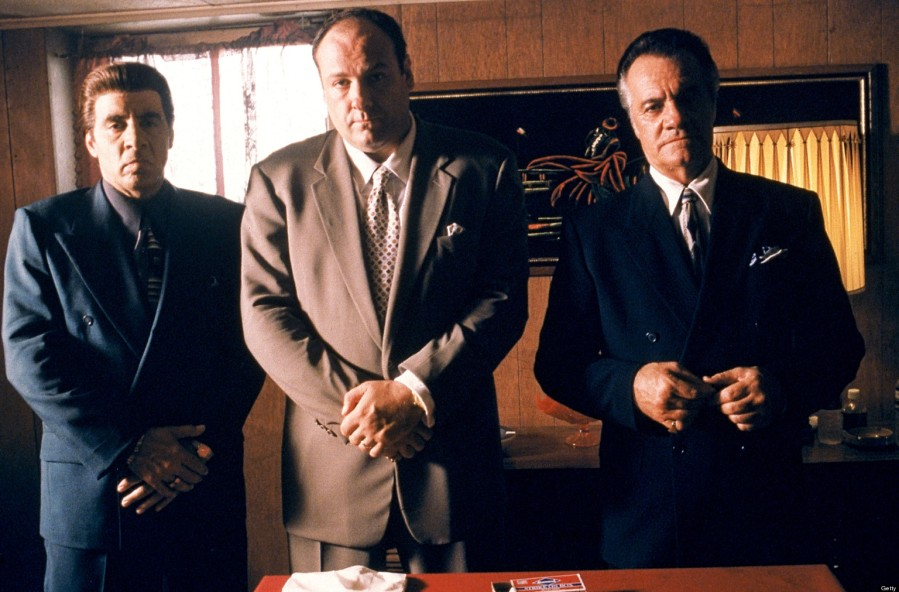 387931 01: From left to right: Steven Van Zandt as Silvio Dante, James Gandolfini as Tony Soprano and Tony Sirico as Paulie Walnuts star in HBO's hit television series,