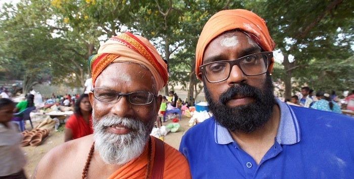 Programme Name: Asian Provocateur - TX: 07/10/2015 - Episode: Asian Provocateur - ep 2 (No. 2) - Picture Shows: ...and his Uncle Ragu (Vettyvelu Ragunathan) Romesh Ranganathan - (C) Rumpus Media - Photographer: Benjamin Green