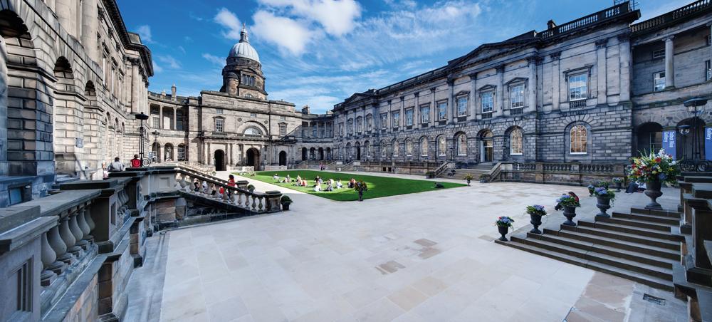 Edinburgh University Old College Quad quad, after refurbishment.